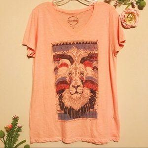 😎2 for $15 | Lucky Brand Orange Boho Lion Tee